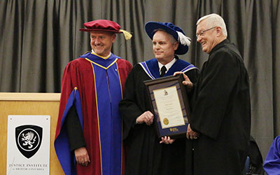 JIBC president and CEO Michel Tarko, honorary degree recipient Stephen Gamble, and JIBC board chair Jim McGregor