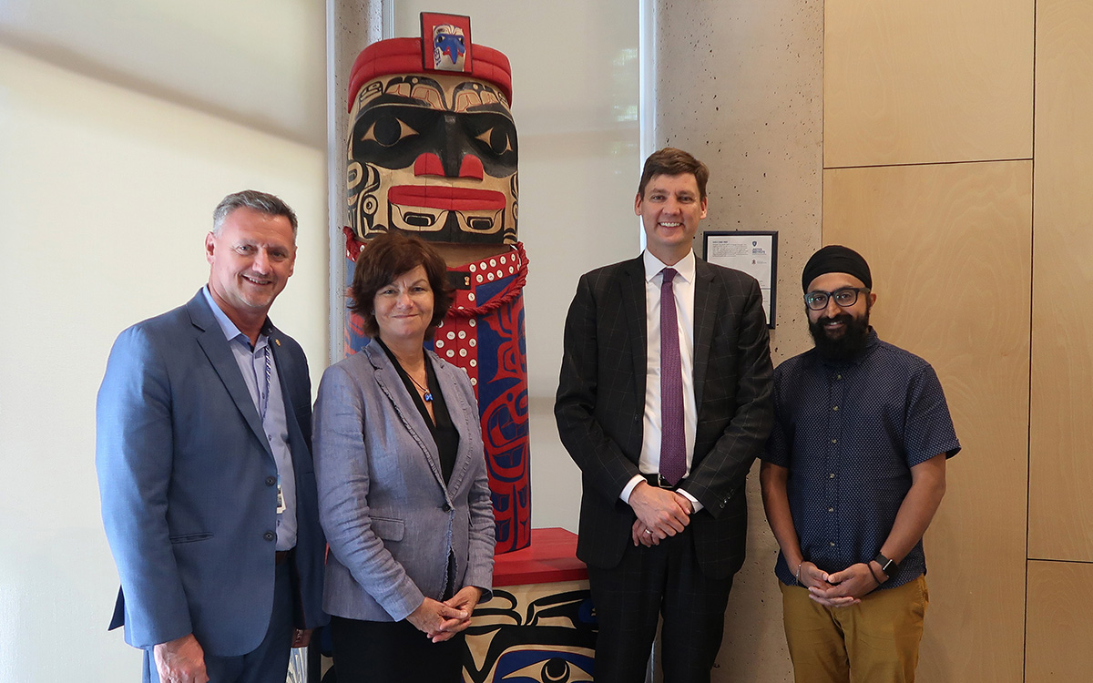 From left: JIBC President and CEO Michel Tarko, Assistant Deputy Minister Linda Cavanaugh, Court Services Branch of the Ministry of Attorney General, Attorney General David Eby, JIBC Board Chair Sukhminder Virk.