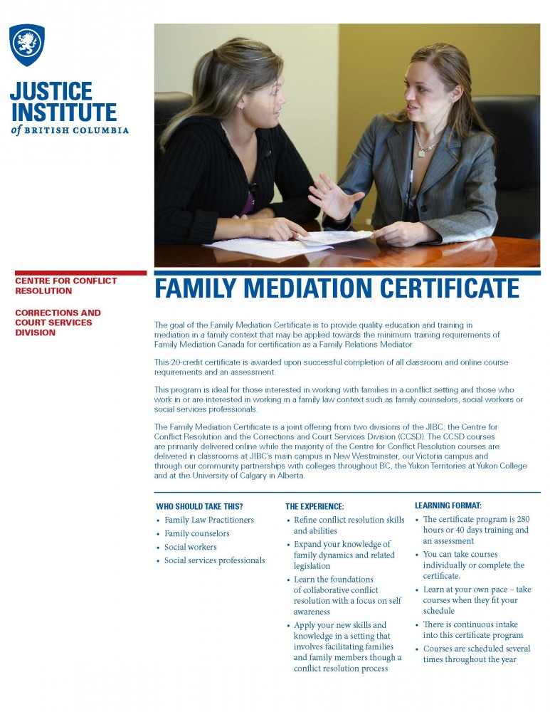 Family Mediation Certificate Justice Institute Of British Columbia