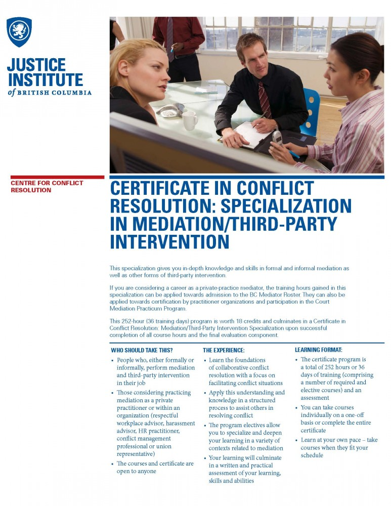 Certificate In Conflict Resolution Specialization In Mediation