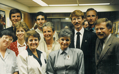 The first graduates from the Certificate in Conflict Resolution program in 1988, including a number of current and former faculty members, with Marje Burdine (front row centre, wearing grey blouse), former faculty and the first administrator of JIBC's Centre for Conflict Resolution.