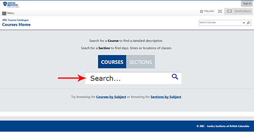 Course Catalogue Main Page Screenshot