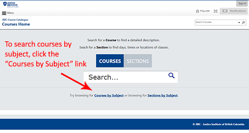 Courses by Subject Screenshot