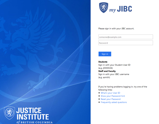 myJIBC Portal Home Page Screenshot