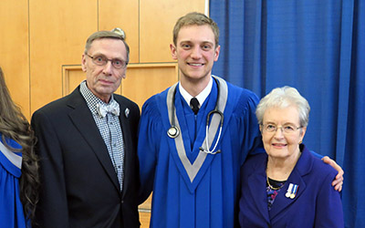 Beverley and John Carl meet Matt Brown at Winter Convocation 2015