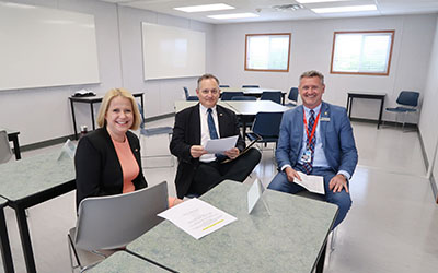 Maple Ridge-Pitt Meadows MLA Lisa Beare, Maple Ridge-Mission MLA Bob D'Eith and JIBC President and Michel Tarko at opening of new Driver Education Centre facility