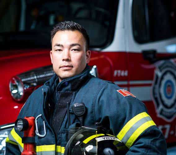 ​​​​​​​Adam Iwama credits his JIBC training with helping him successfully transition from work in kinesiology to a career as a firefighter.