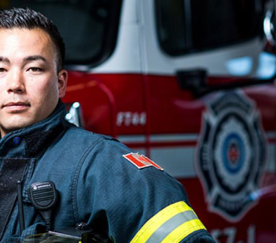 Adam Iwama credits his JIBC training with helping him successfully transition from work in kinesiology to a second career as a firefighter. (Story by Wanda Chow / Photo by Jimmy Jeong)