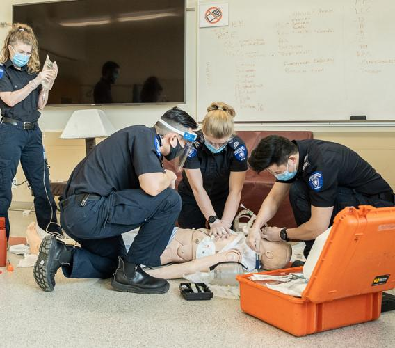 JIBC Advanced Care Paramedic students practise their hands-on training.