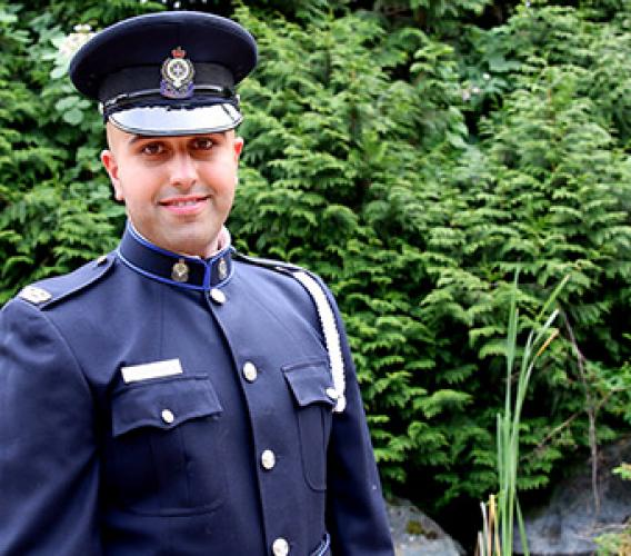 "Ramandeep Randhawa says his JIBC Law Enforcement Studies instructors went ""above and beyond"" in helping him achieve his career goals. (Story and photo by Wanda Chow)"