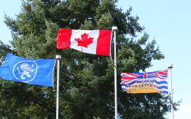 Canada, British Columbia and JIBC Flags