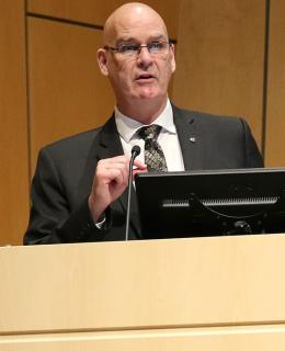 Keynote speaker Bob Downie, Chief Constable of the Saanich Police Department, spoke on the importance of research to policing.