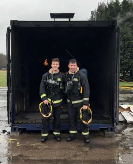 JIBC Fire Fighting Technologies Certificate (FFTC) graduates Nick Cirillo and Rorie Moir travelled to The Fire Service College in the UK to participate in a special opportunity to study abroad for two weeks and gain invaluable international firefighter training experience.