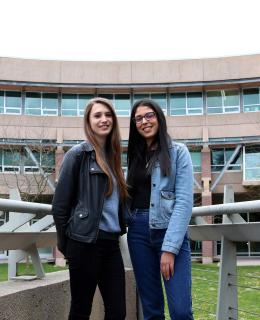Emily Bird, left, and Rachele Cabboi saw their international exchange experience at JIBC as a once-in-a-lifetime opportunity that enhanced their studies through a hands-on learning approach and instructors still actively working in law enforcement.