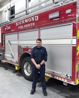 Nick Cirillo was recently hired by Richmond Fire-Rescue after he completed the Fire Fighting Technologies Certificate program at JIBC.