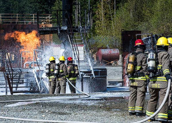 JIBC firefighting students at training